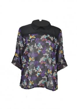 Áo kiểu nữ phối ly đô trước đen in bông #4