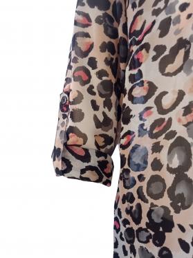 Áo kiểu nữ phối ly đô trước kem in bông #123