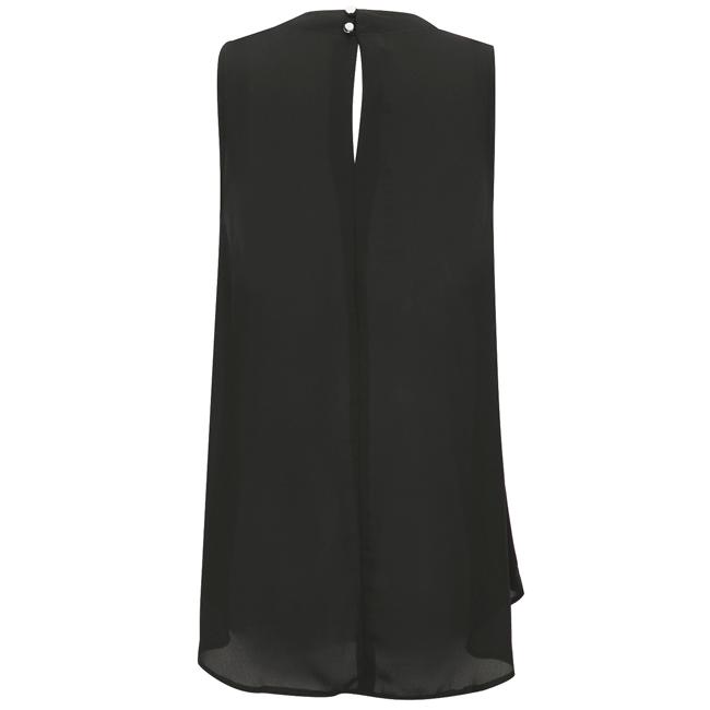 Áo kiểu không tay xếp ly cổ khoét màu đen - 15-0284