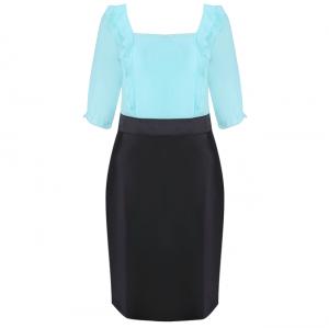 Đầm ngắn tay cổ vuông màu xanh - 11-0176