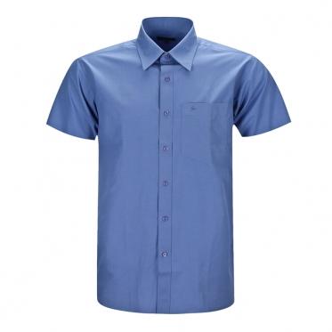 Áo sơmi nam tay ngắn trơn cổ palem màu xanh dương - 100858-SDM0044