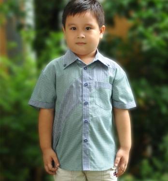 Áo ngắn tay bé trai màu xanh