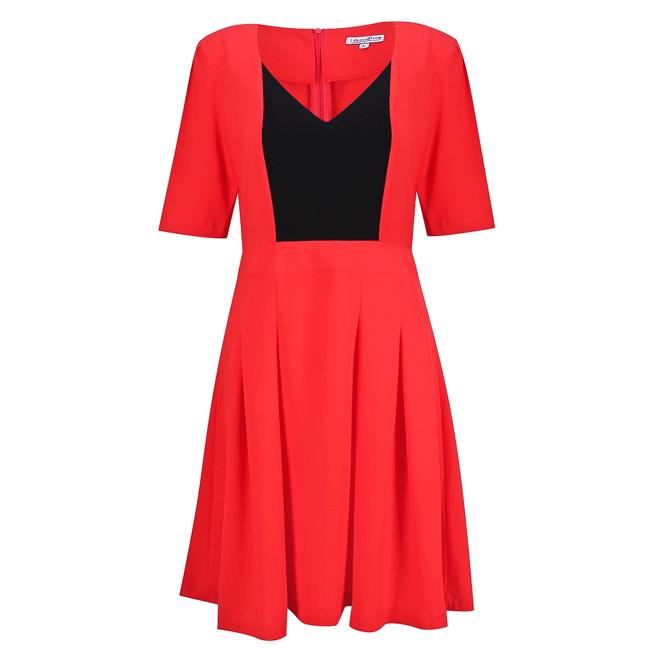 Đầm tay lửng màu đỏ cam - 15-0111