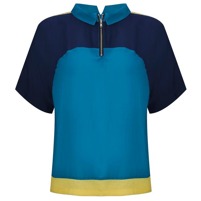 Áo kiểu croptop phối 3 màu xanh - 15-0106