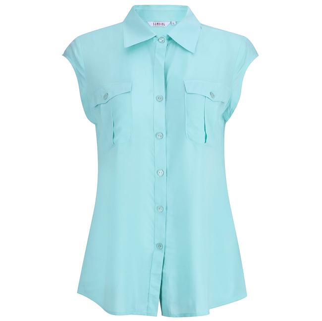 Áo sơ mi tay con thời trang màu xanh - 15-0223