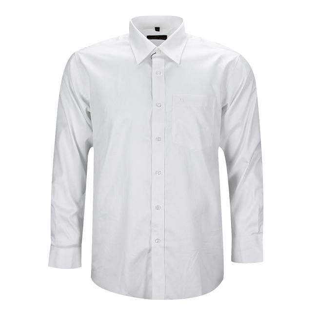 Áo sơmi nam tay dài cổ palem màu trắng