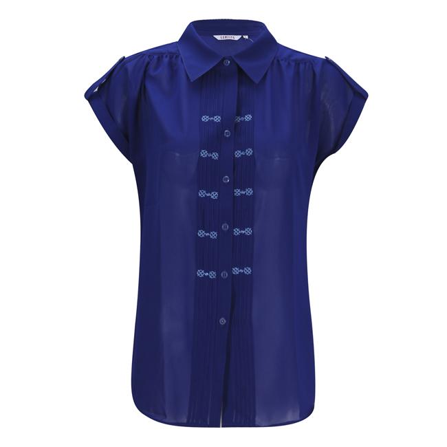 Áo sơmi nữ màu xanh dương xếp ply thêu